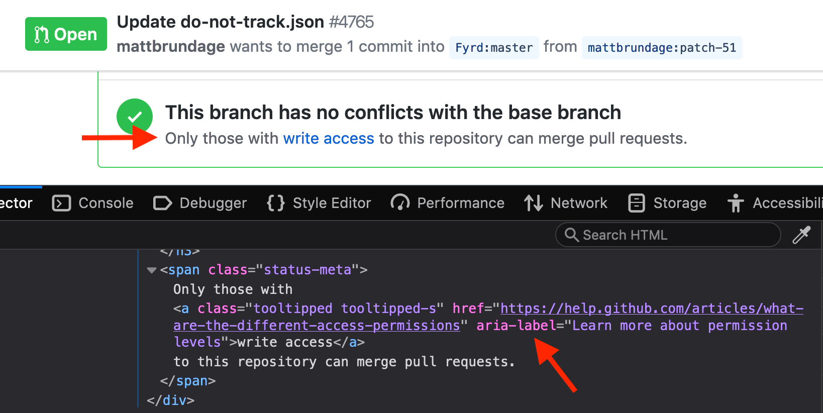 GitHub incorrectly sets aria-label on some inline links